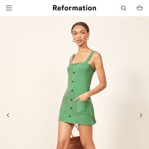 Reformation Kenny Dress. Color: Matcha Green. XS